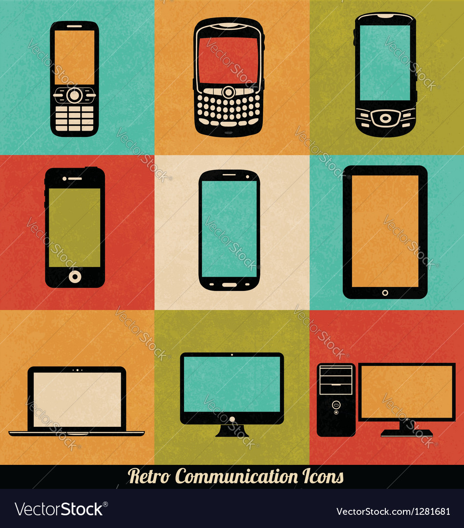 Retro connection icons vector