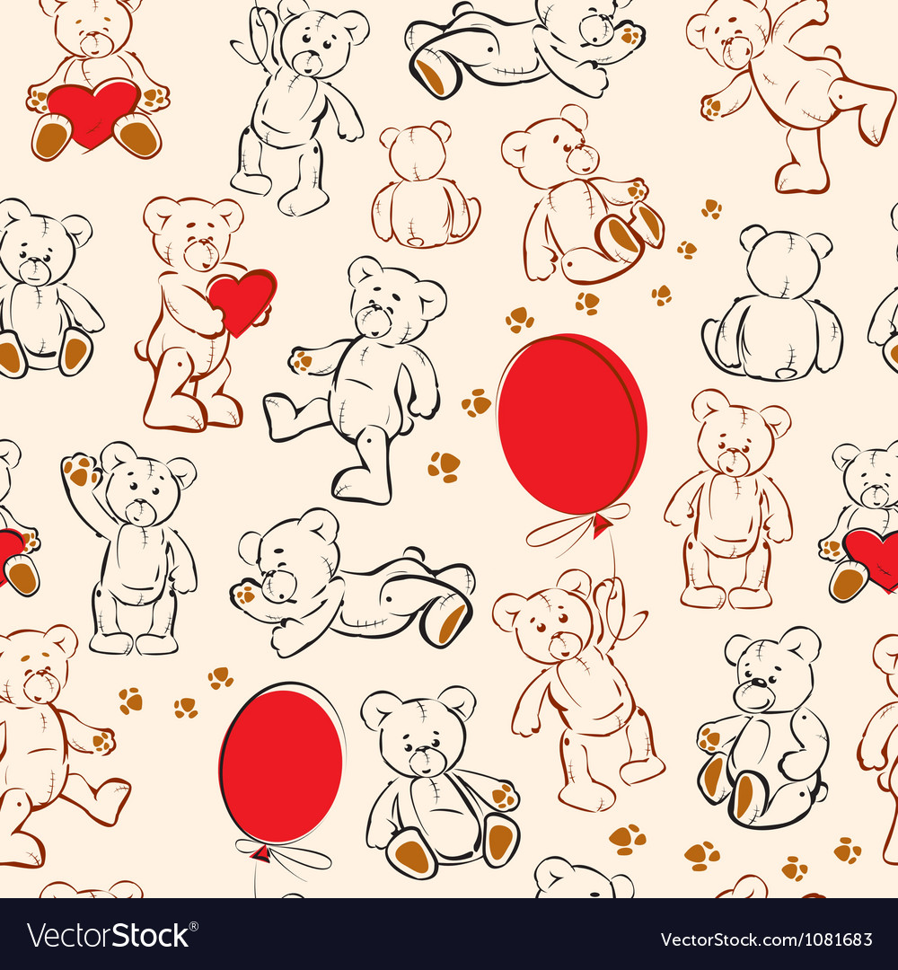 Seamless texture with teddy bears hearts vector