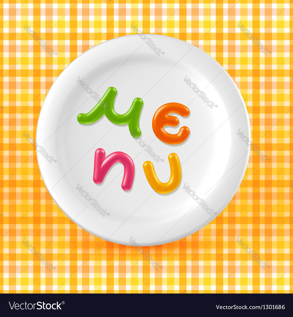 Marmalade candy menu word on plate vector