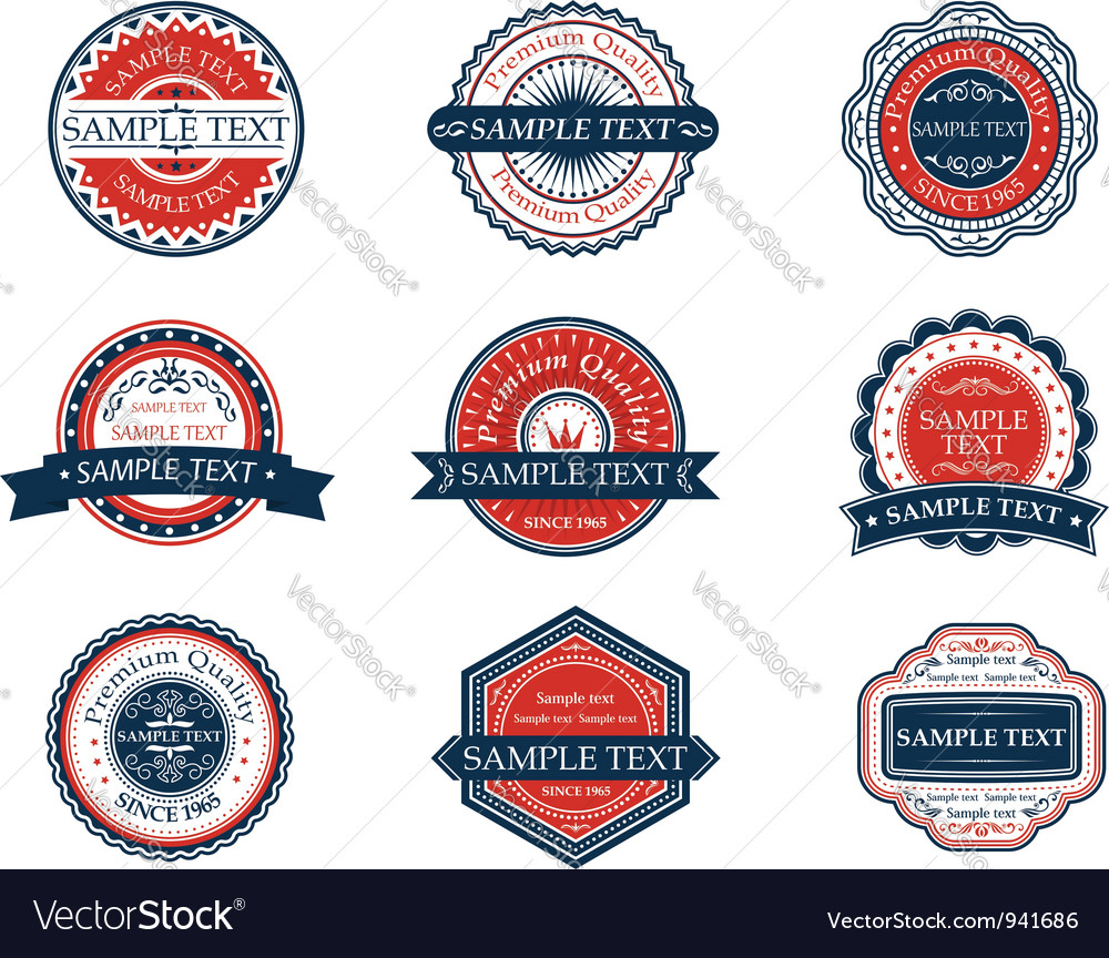 Retro blue and red labels set vector