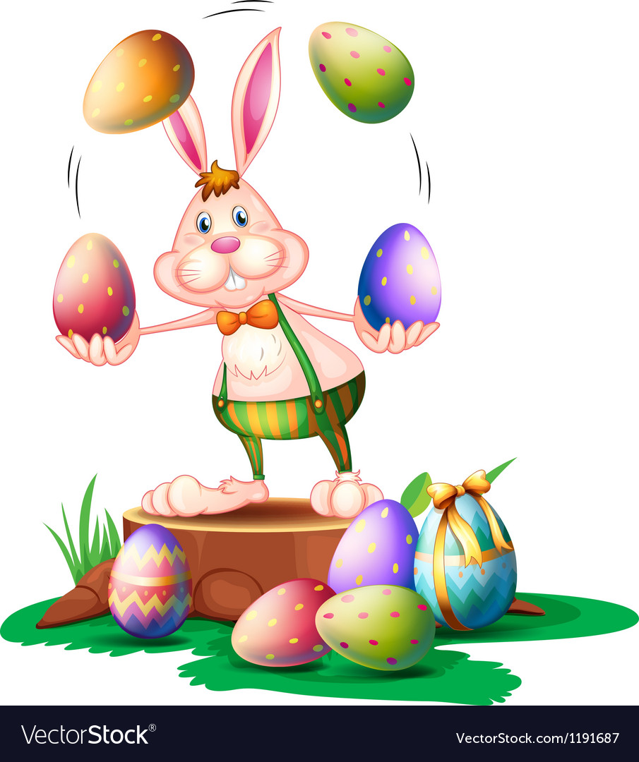 A bunny juggling the easter eggs vector