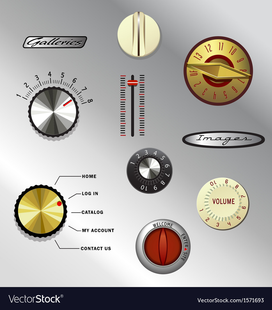 Vintage knobs set 1 vector