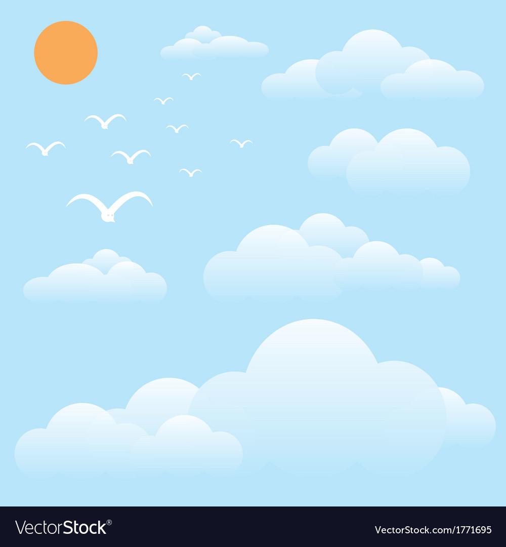Bird at sky sun and cloud vector