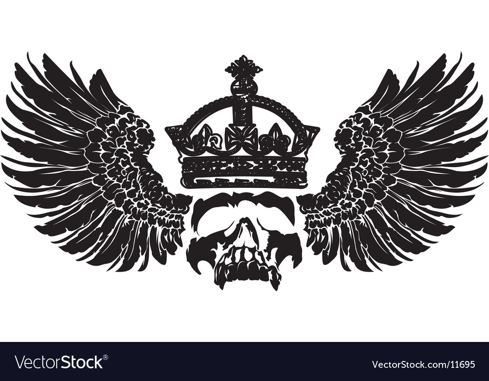 Crowned skull on wings vector