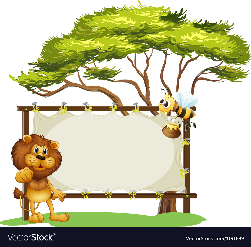 A lion and a bee near a big tree vector