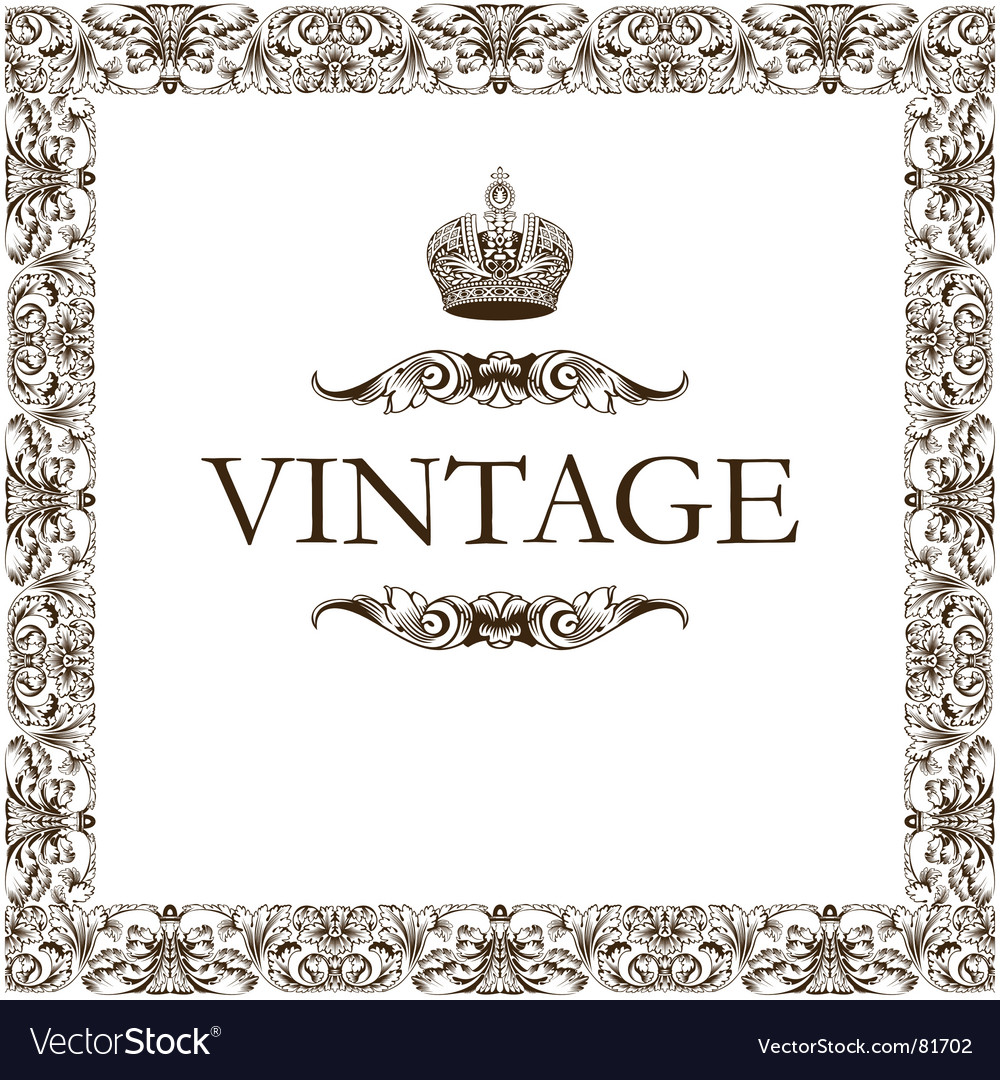 Vintage frame decor crown vector
