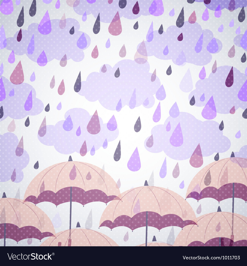 Background with umbrellas and a rain vector