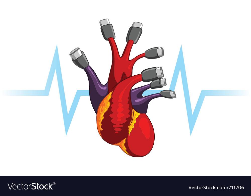 Human heart usb plug symbolic vector