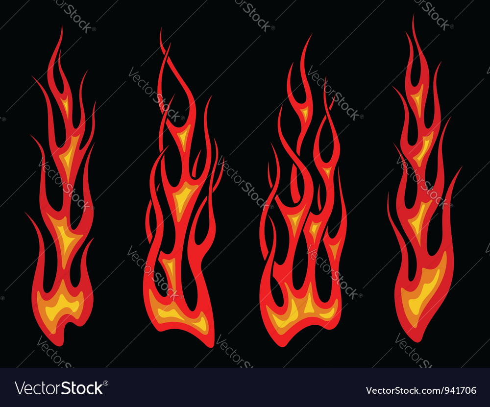 Set of long tribal fire flames vector