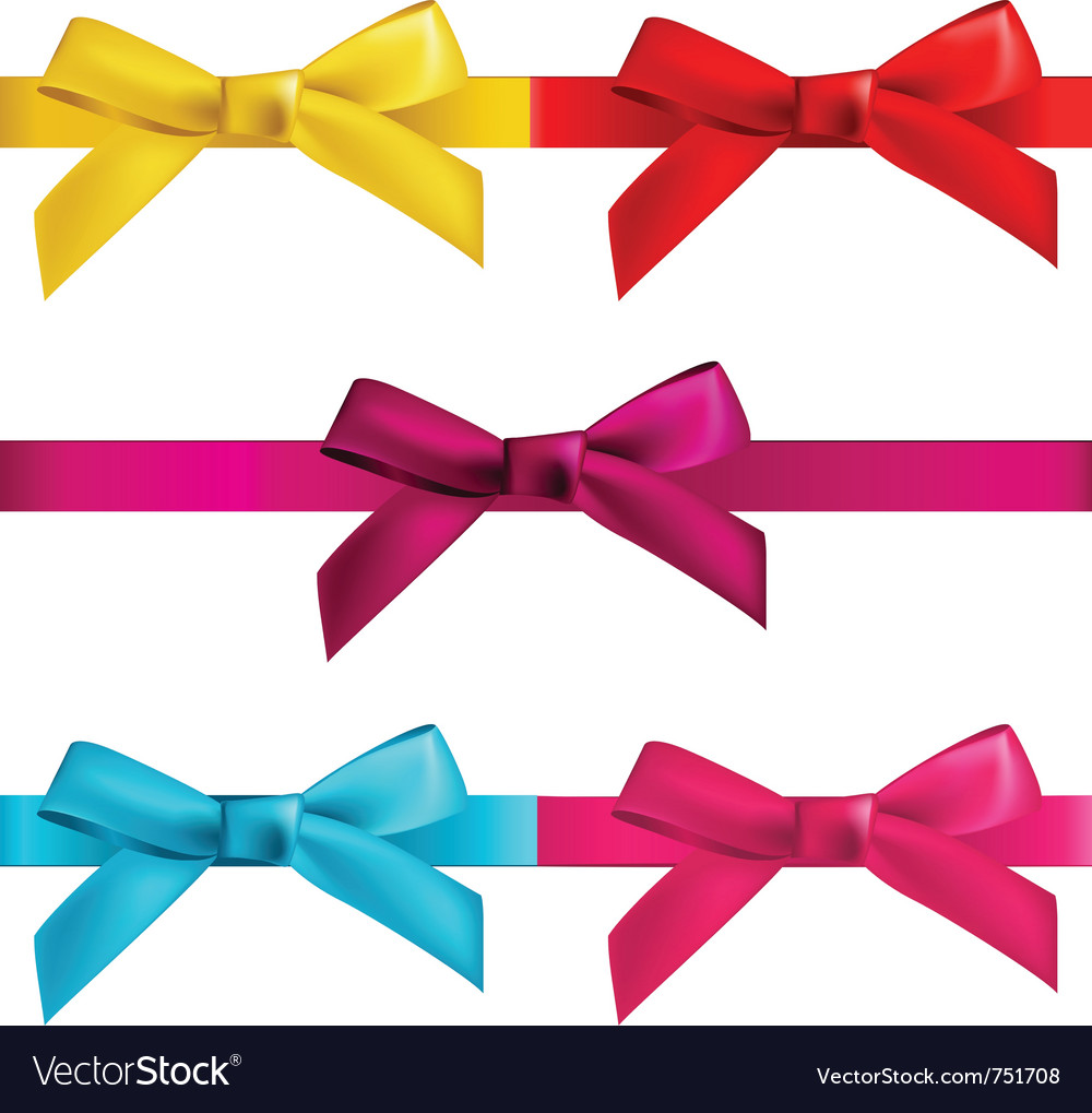 Gift bows with ribbons vector