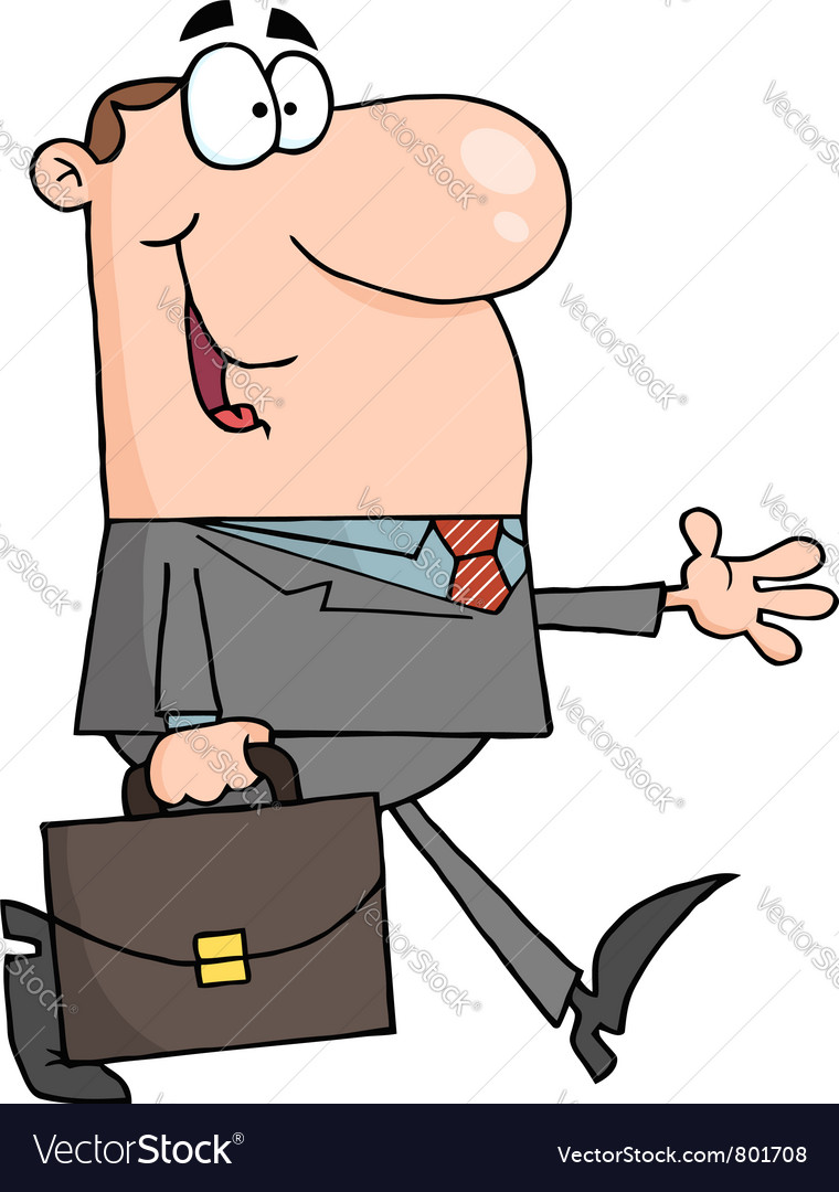 Smiled businessman walking vector