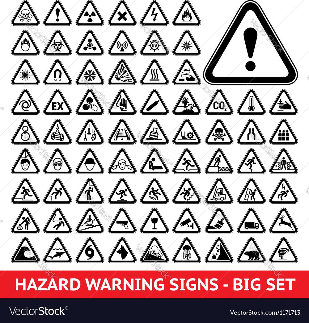 Triangular warning hazard symbols big set vector