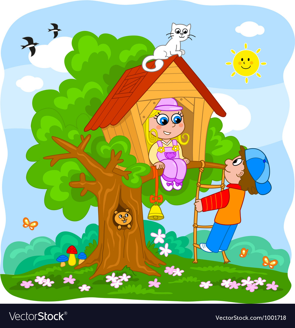Cute kids on treehouse vector