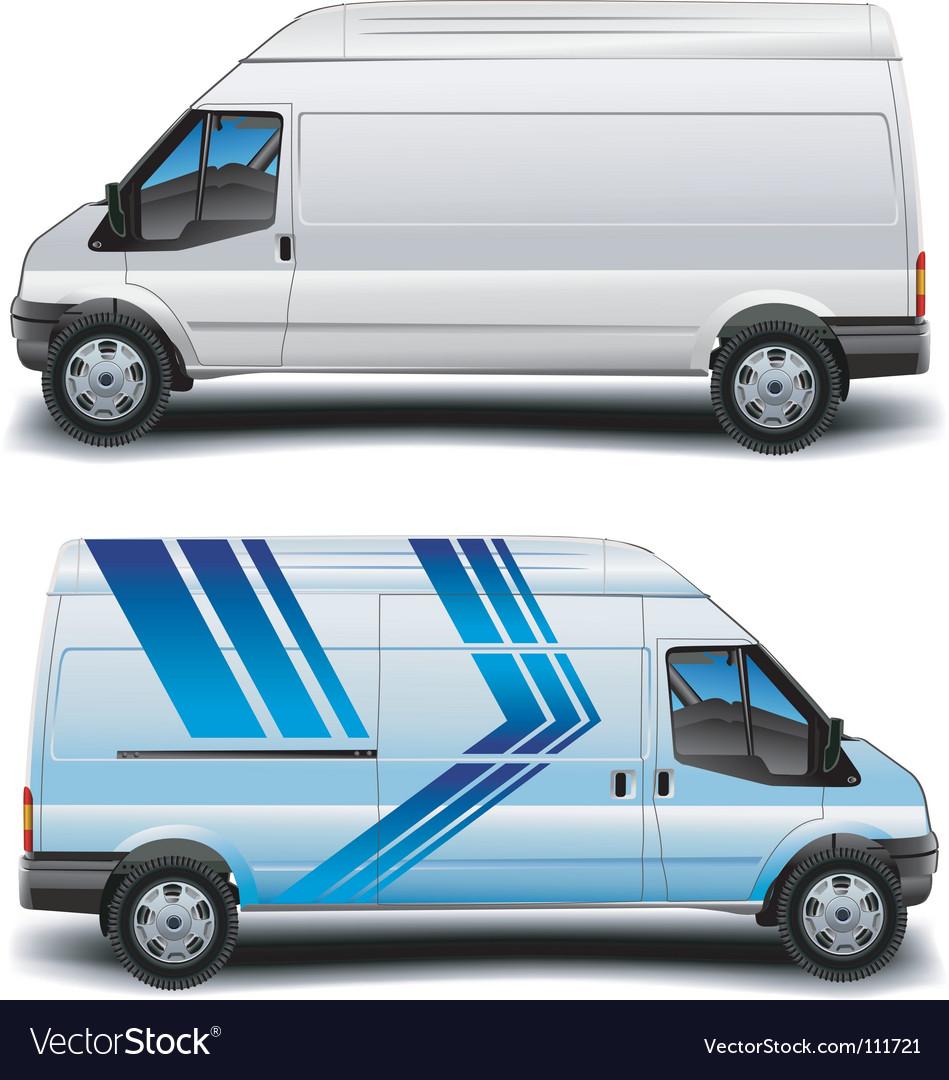 Minibus in blue vector