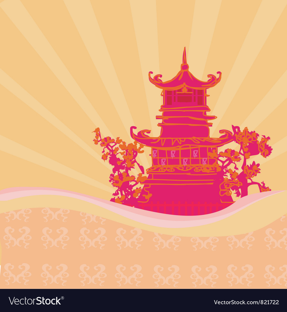 Free old paper with asian landscape vector