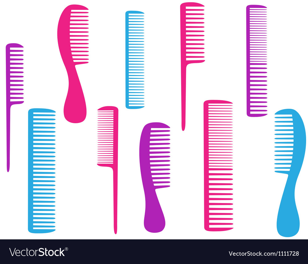 Barbershop set of colorful comb vector