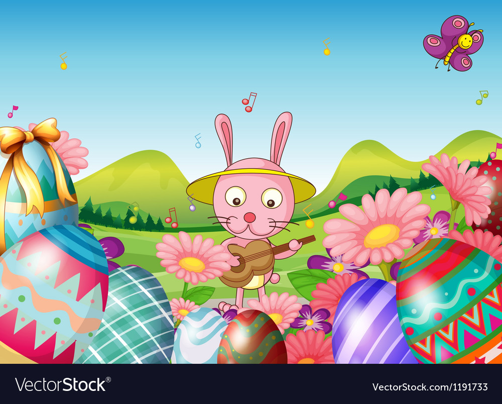 A bunny with a guitar and the easter eggs in the vector