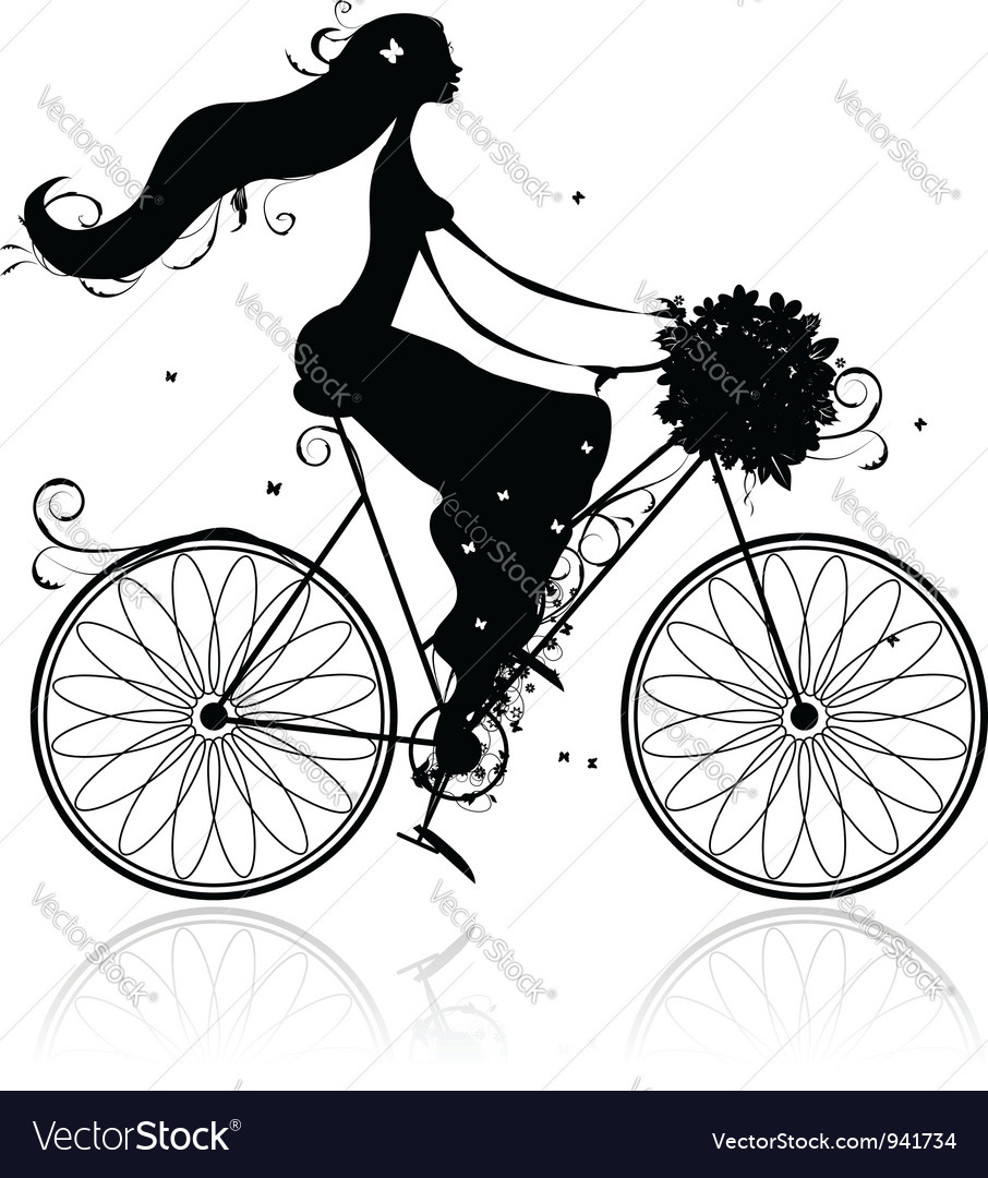 Girl with floral bouquet cycling vector