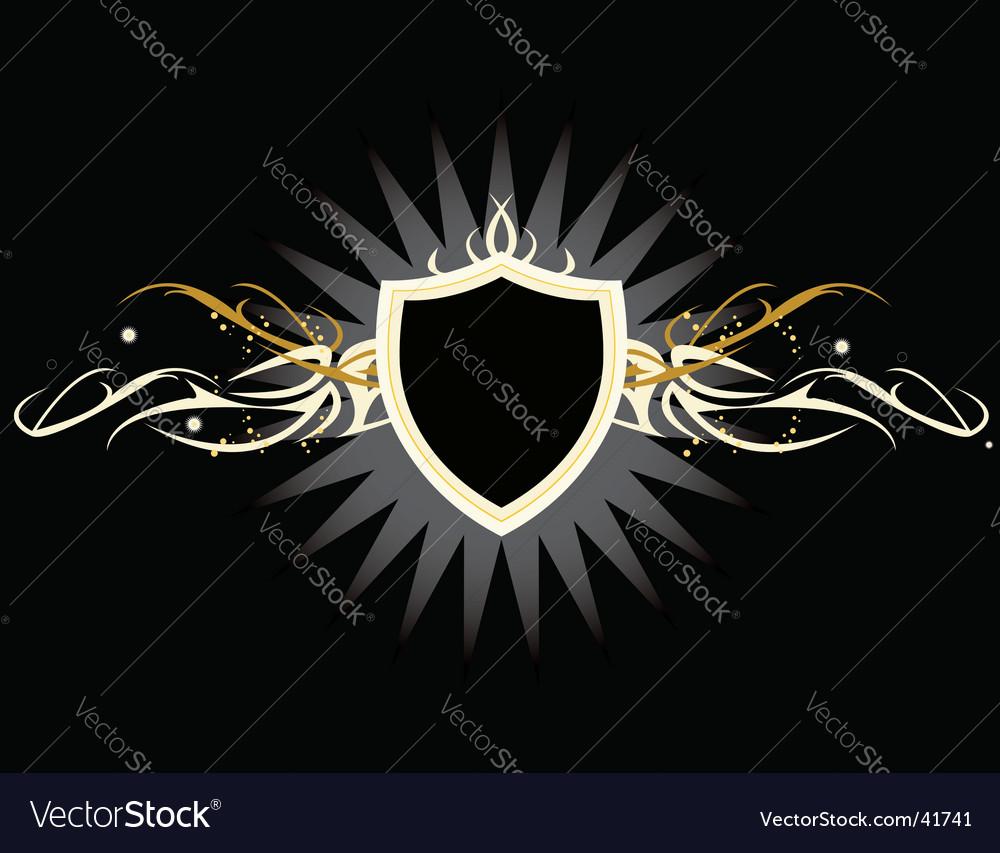White yellow shield vector