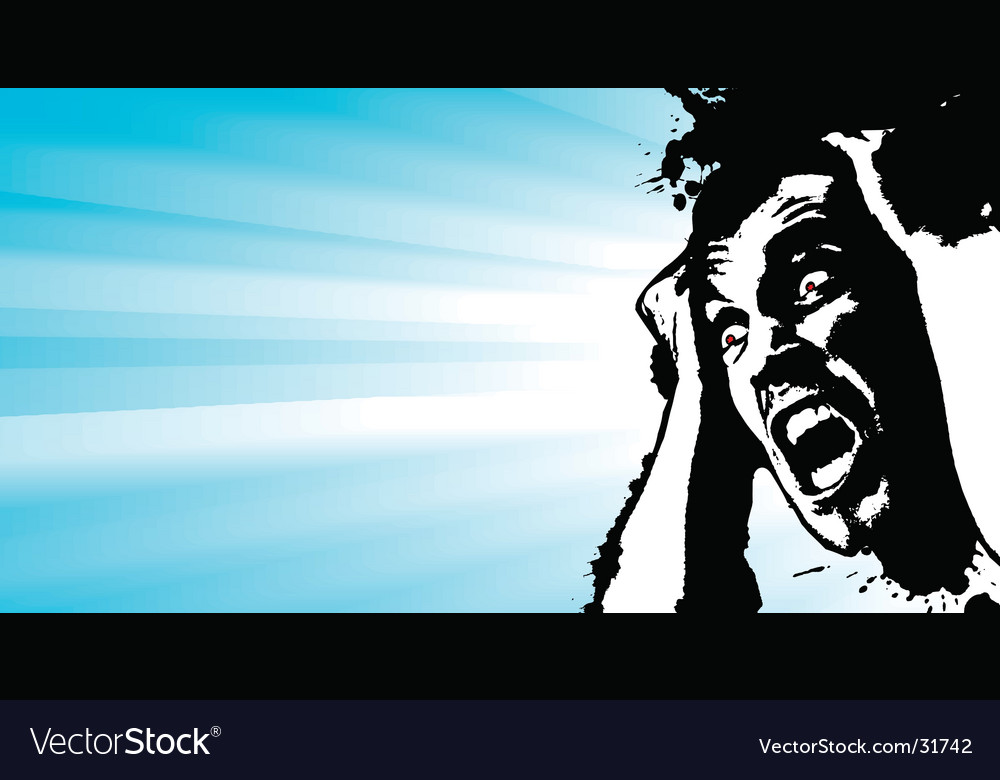 Screaming man grunge glowing banner vector