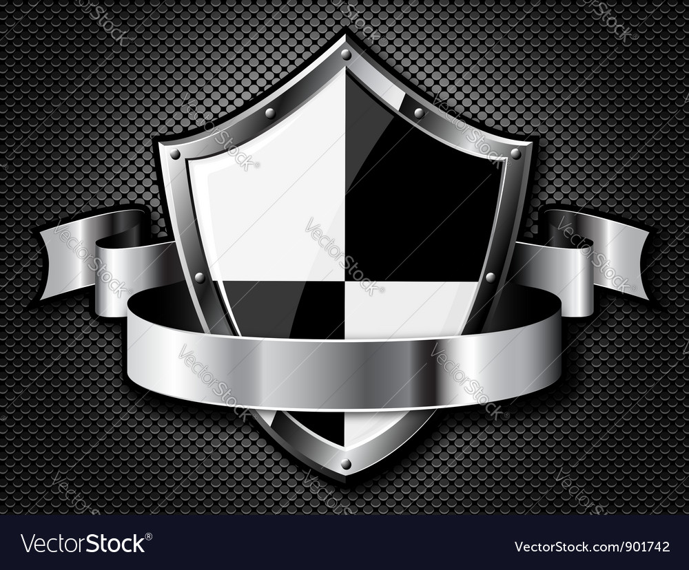 Steel shield with ribbon vector