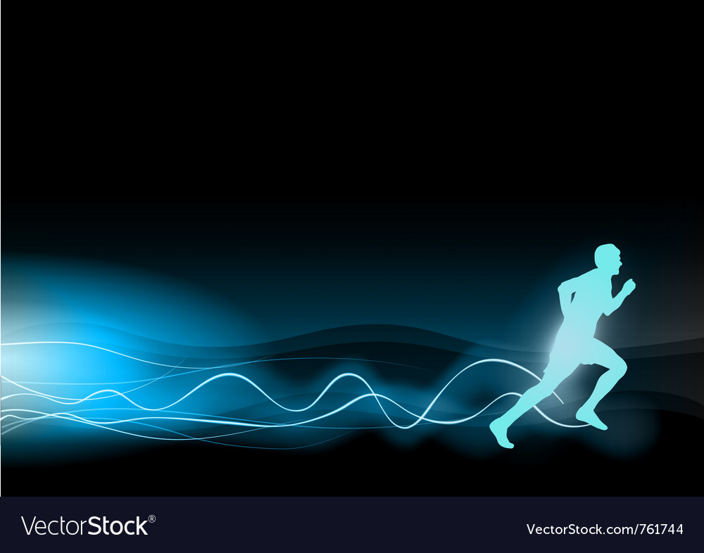 Blue shining runner on the black background vector