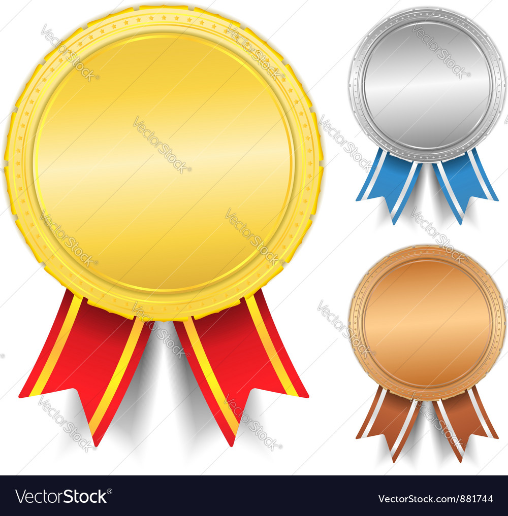 Golden silver and bronze medals vector
