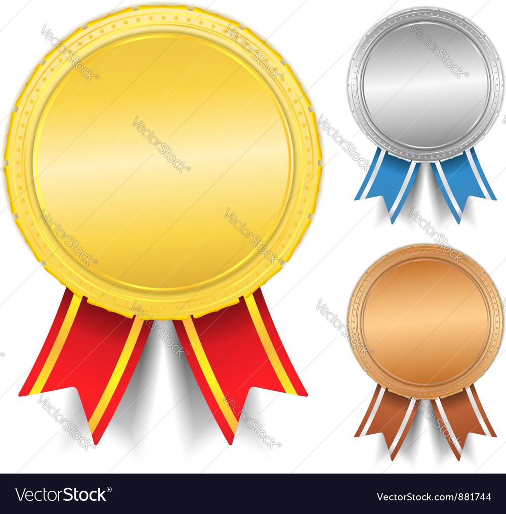 Golden silver and bronze medals vector