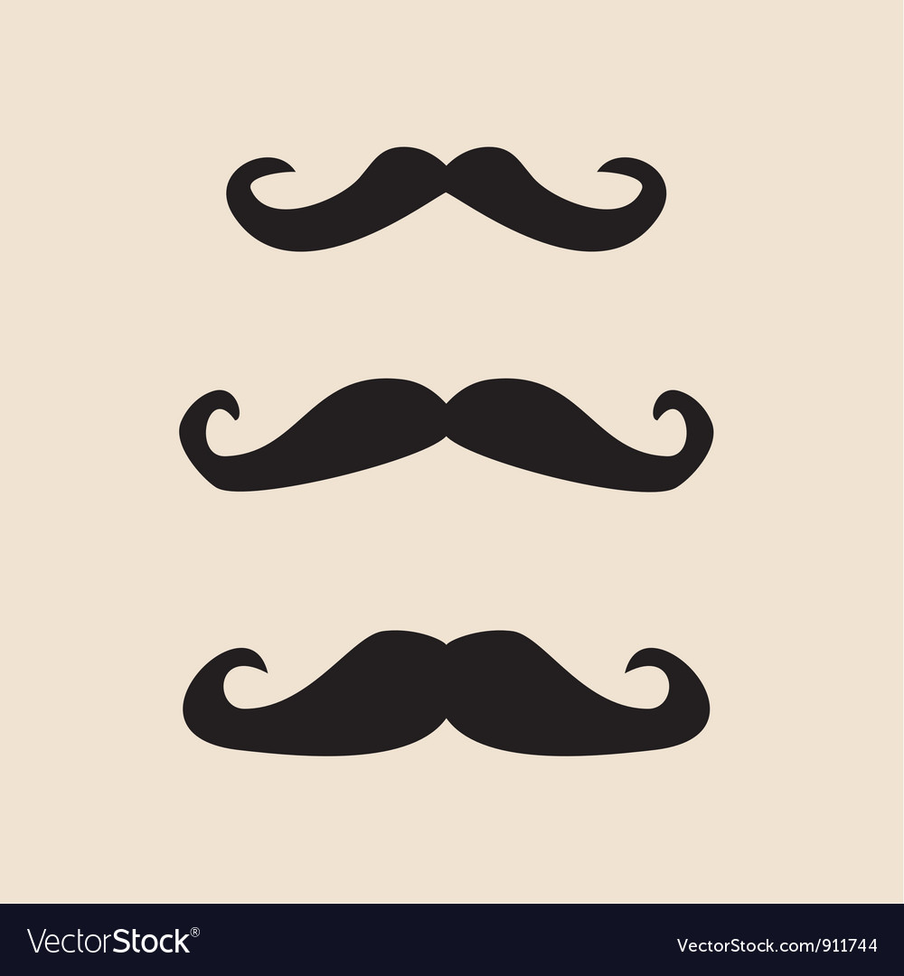 Mustache vintage set vector