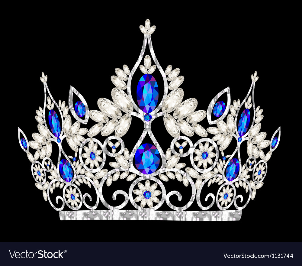 Tiara crown womens wedding with a blue stone vector