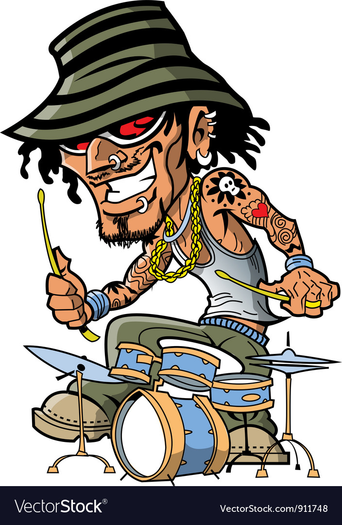 Tattoo drummer vector