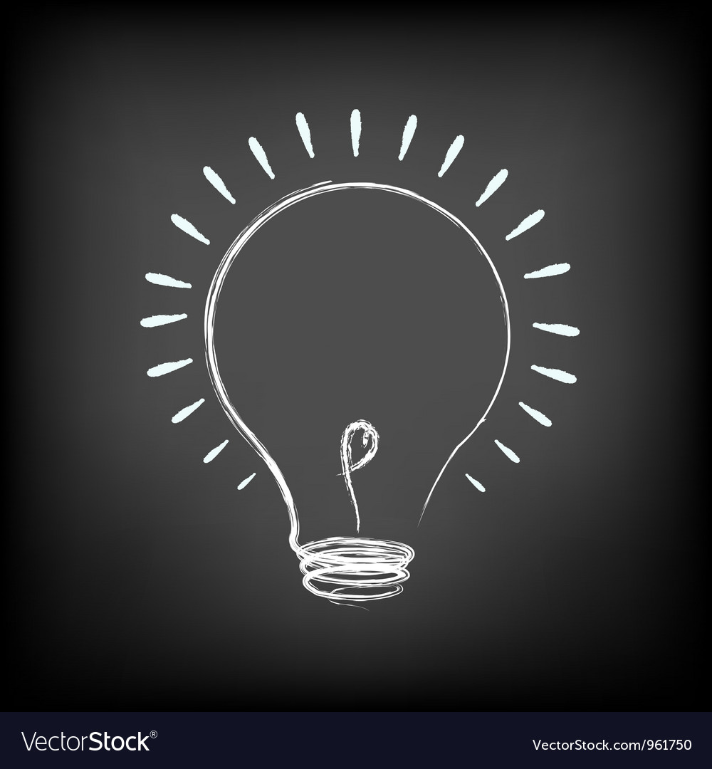 Chalk light bulb vector