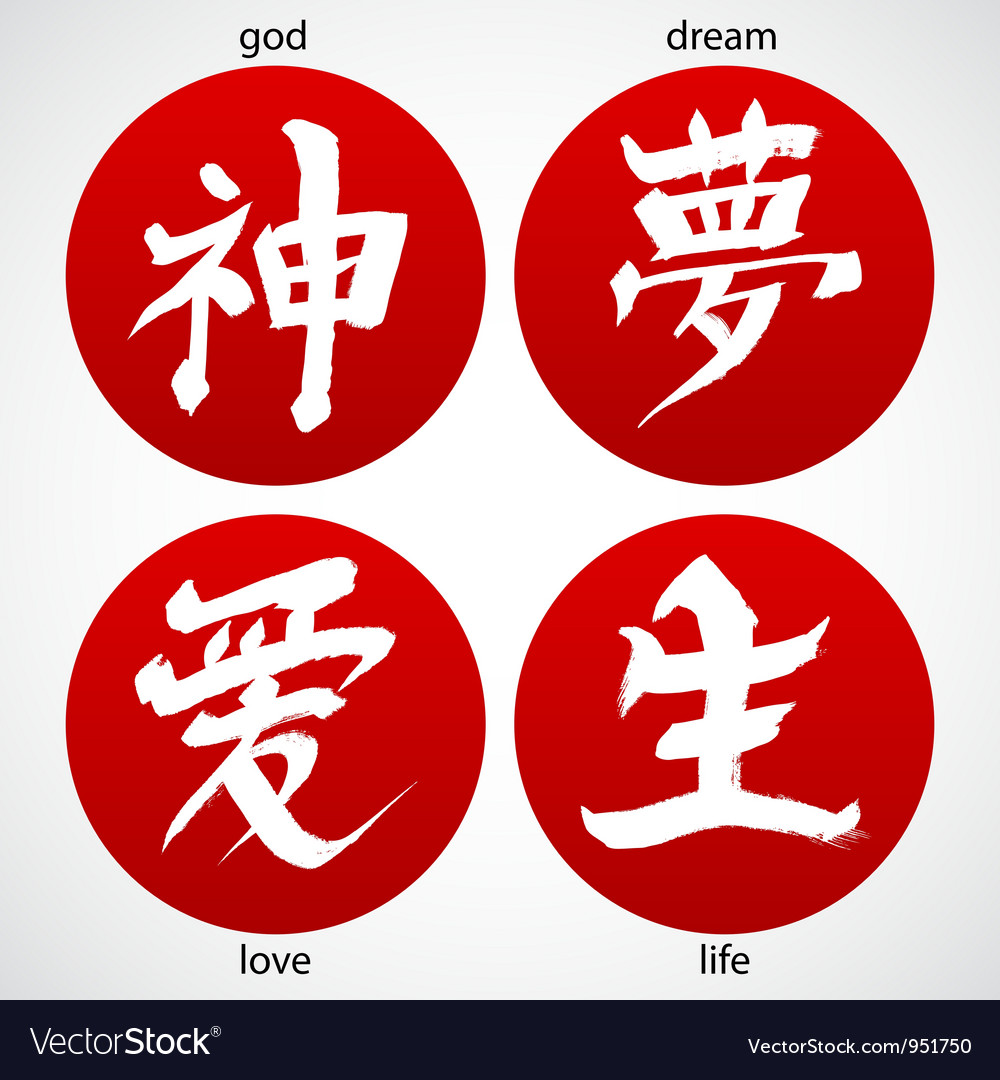 Chinese ink drawn signs vector