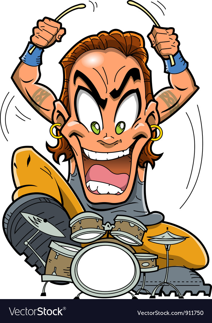 Heavy metal drummer vector