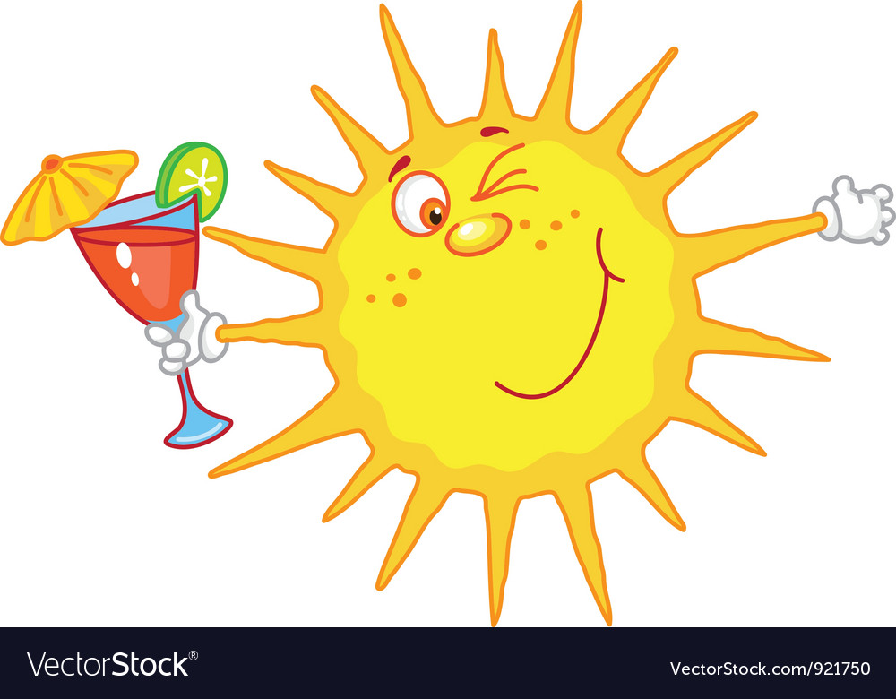 Sun with a glass vector