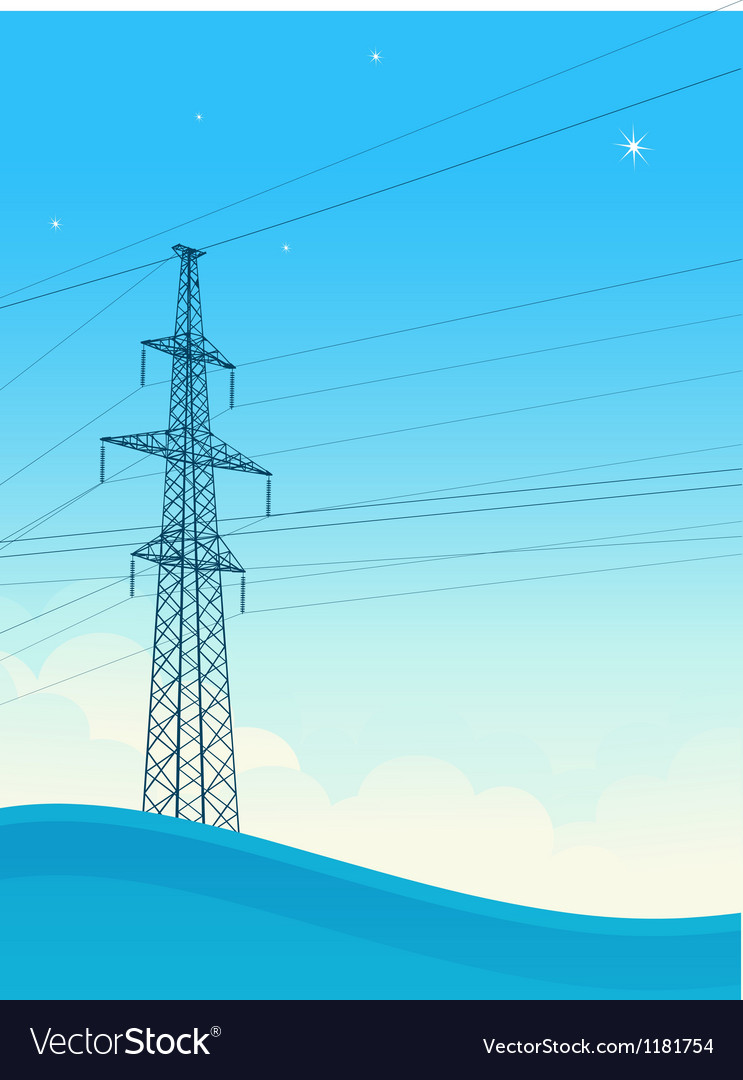 High-voltage tower background vector