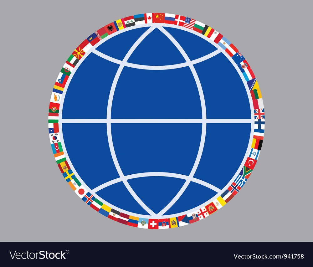 Globe sign with flags vector