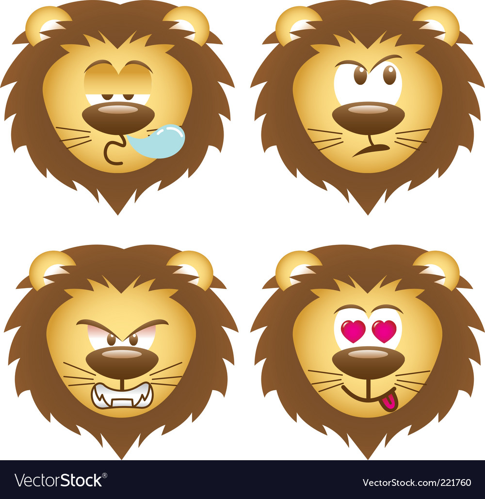 Set of lion face vector