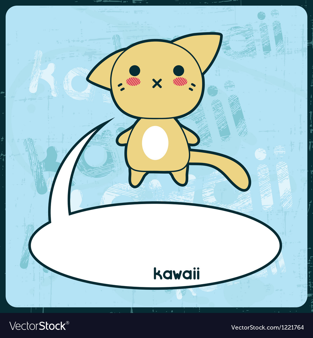 Free kawaii card with cute cat on the grunge background vector