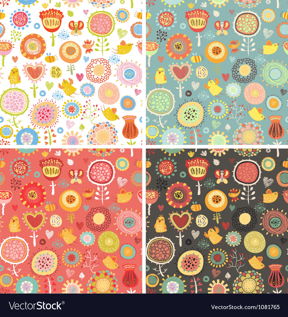 Set pattern with birds and flowers vector