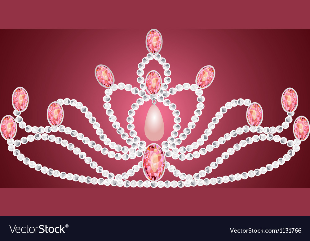 Tiara crown womens wedding on the pink vector