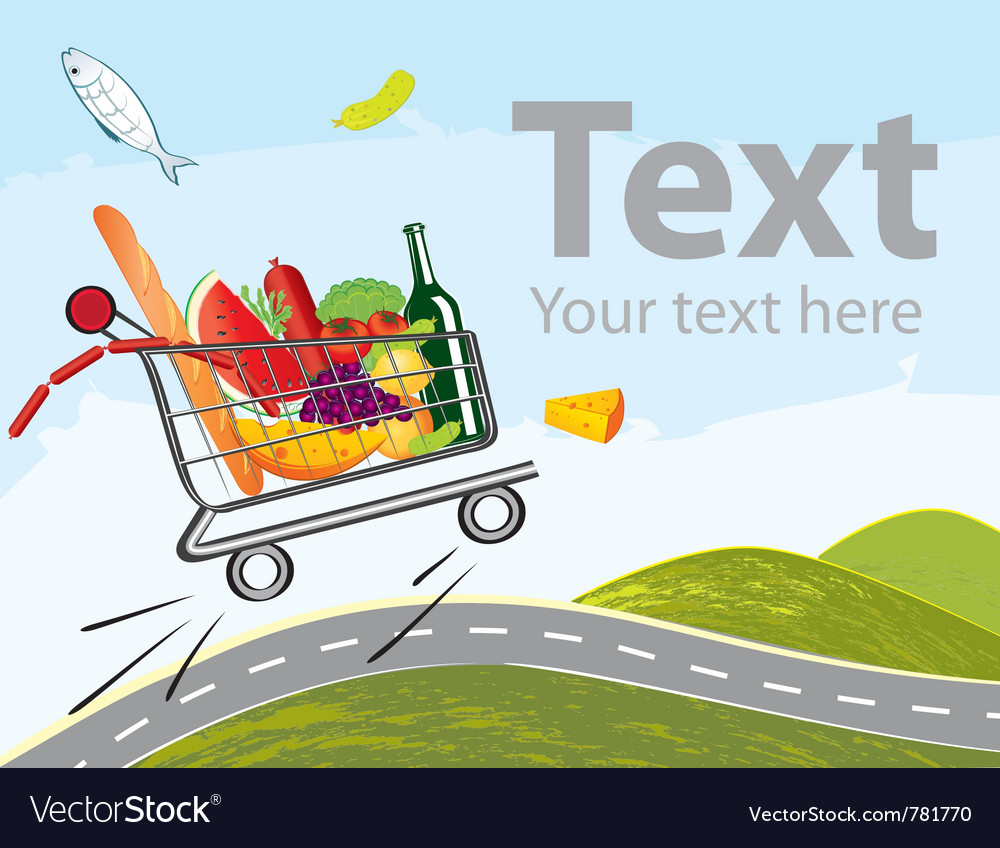 Trolley full of delicious food on the road vector