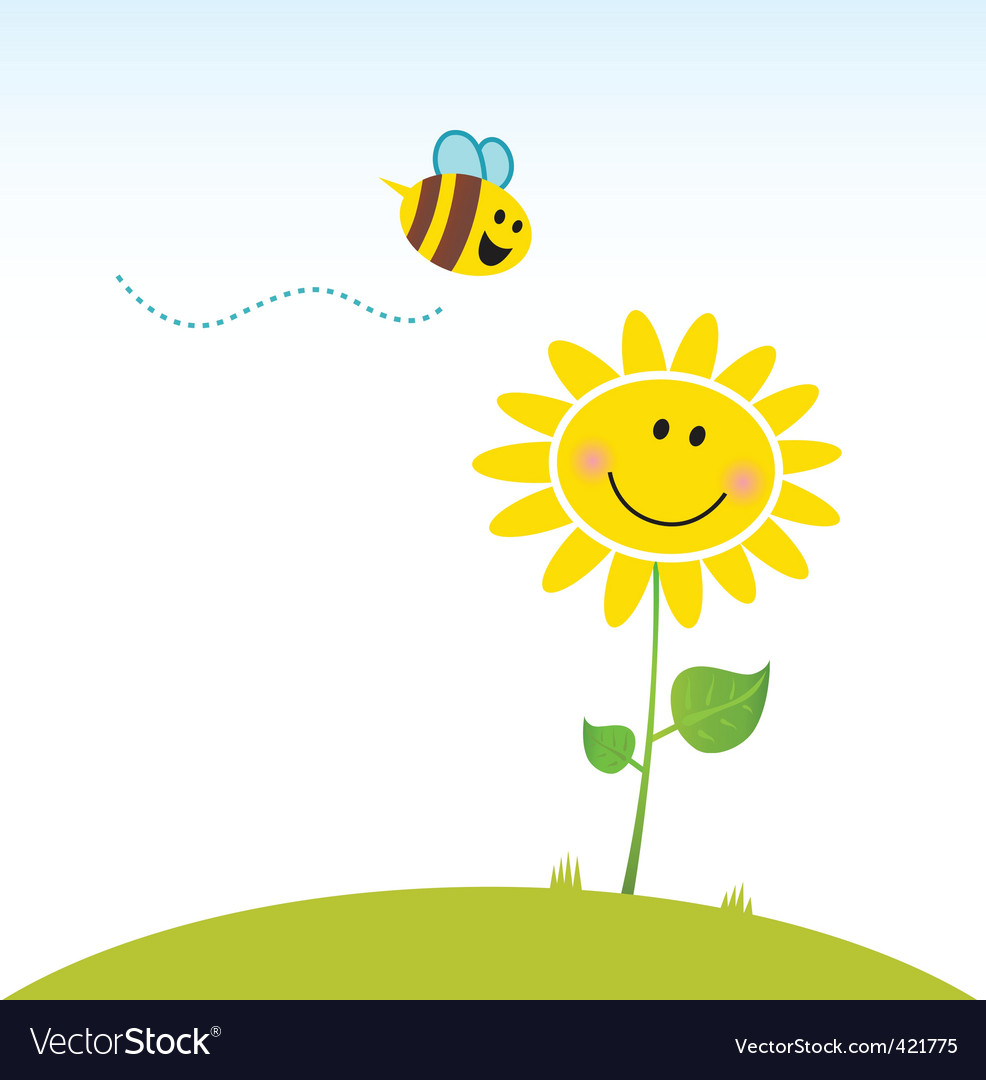 Happy yellow flower with bee vector