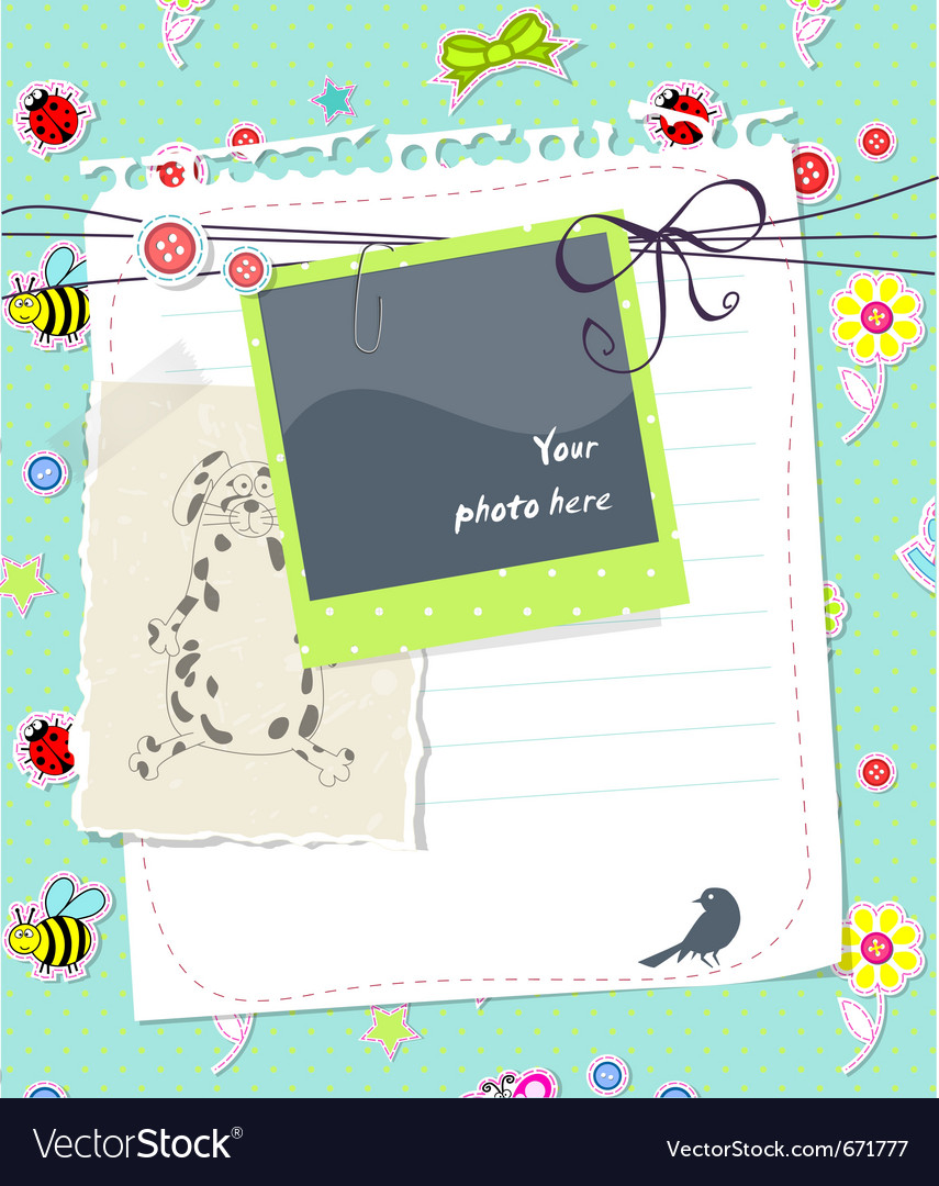 Baby scrapbook card with photo frame vector