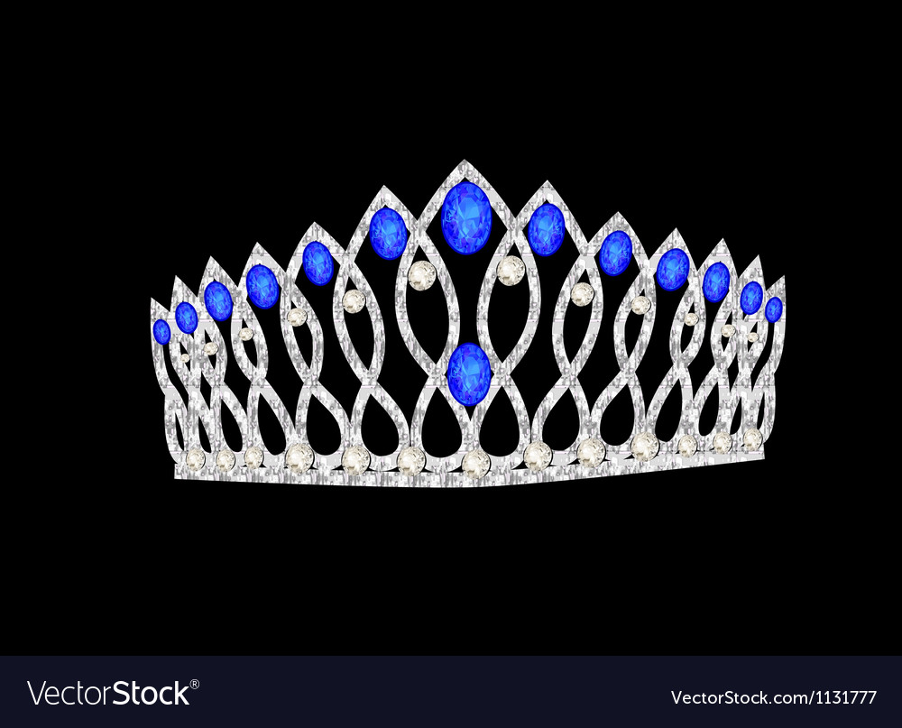 Tiara crown womens wedding on the black vector