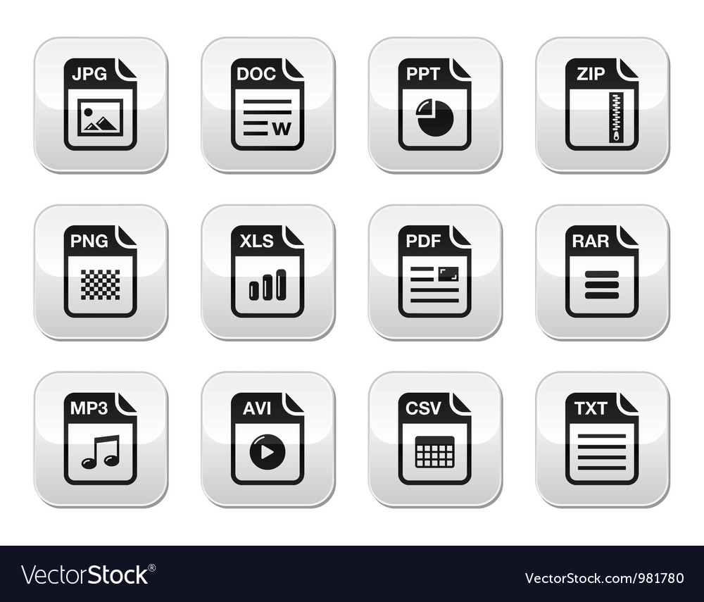 File type black icons on modern grey buttons set vector