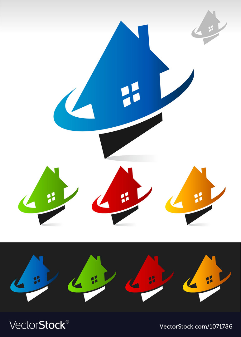 House real estate swoosh logo icons vector