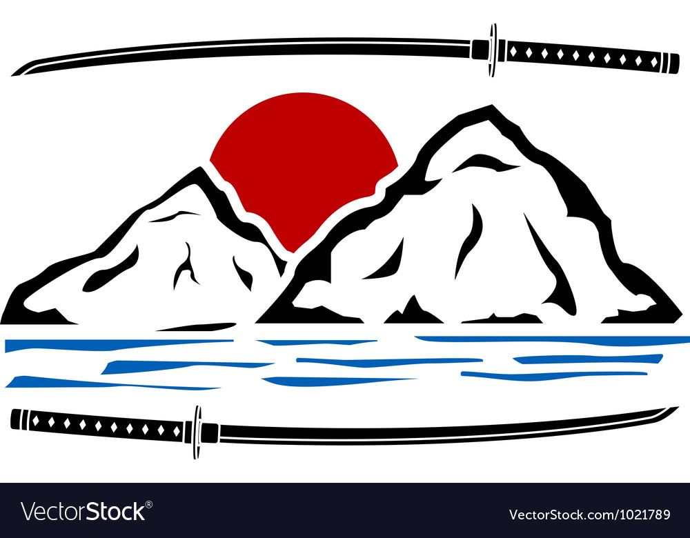 Japanese sunrise stencil vector