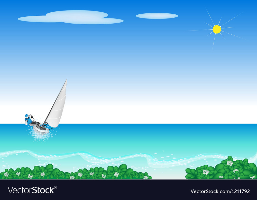 A small sail boat blasting through a sea vector