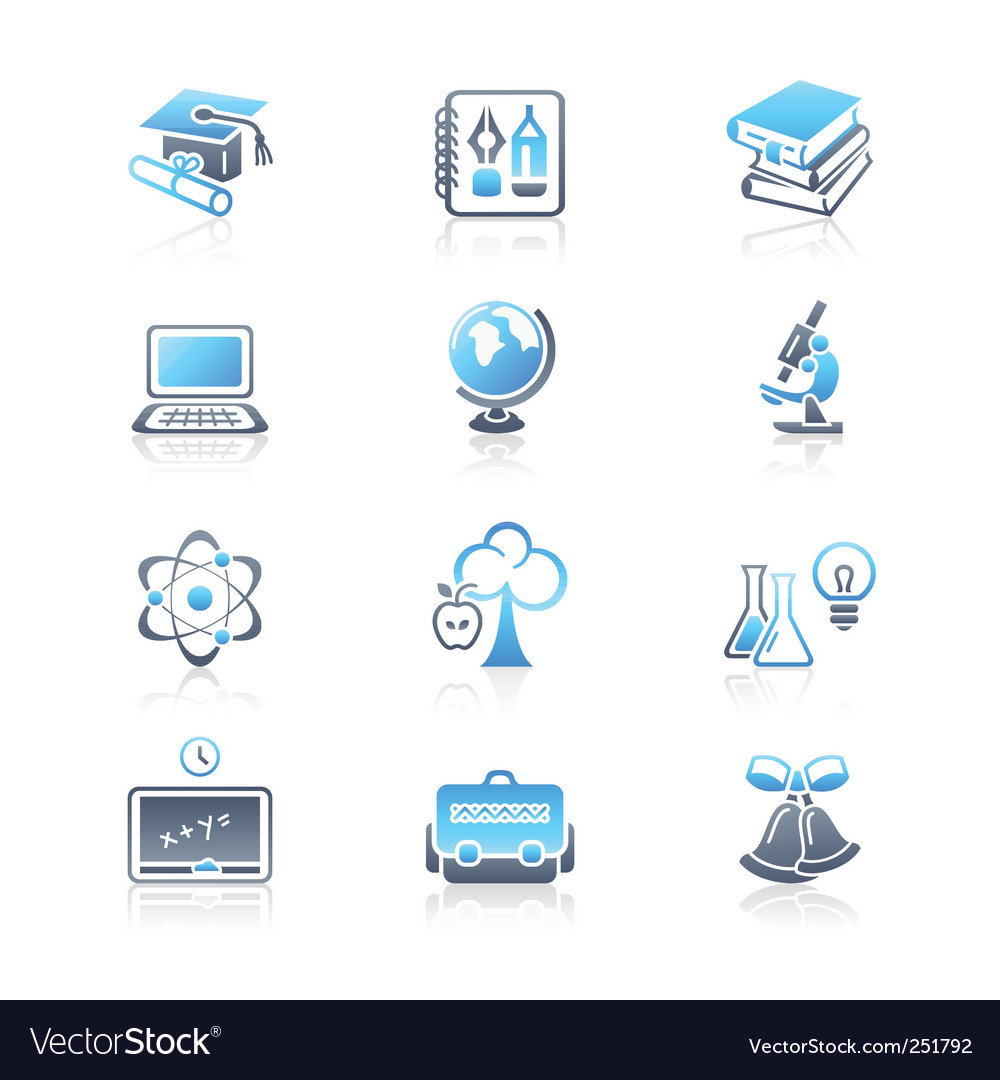 Education objects icons  marine series vector